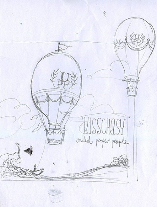 Kisschasy: United Paper People Balloon sketch 1