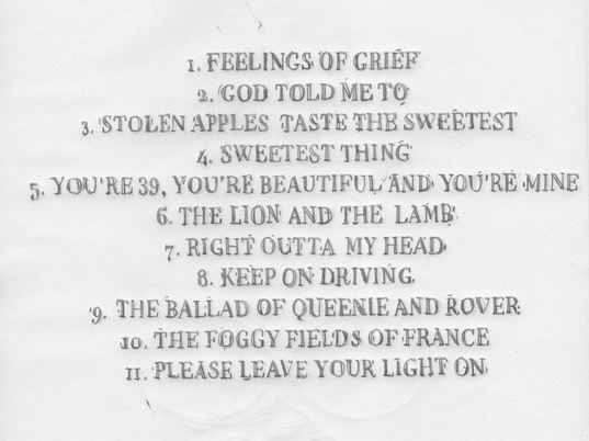 Paul Kelly: Stolen Apples Sketch Tracklist
