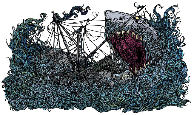 Gallows: Belly of the Shark Line Art Coloured